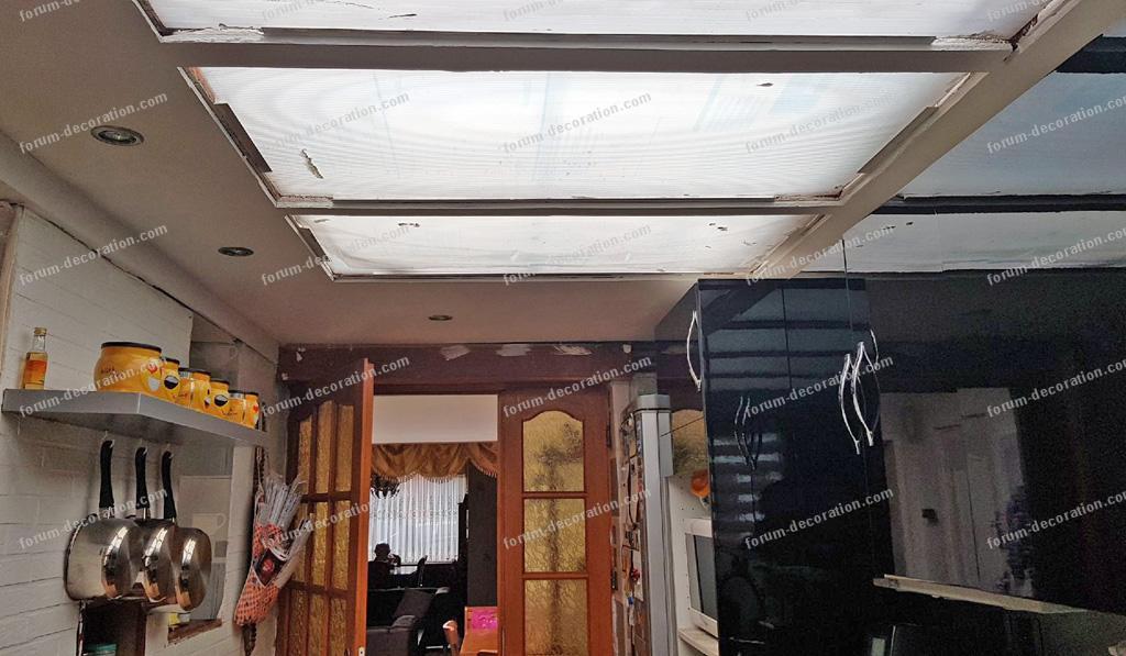 habillage puits de lumière plafond cuisine